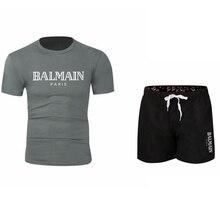 balmain shirt 2019 NEUE Streetwear Kurzarm Tees BALMAIN T Hemd Kurzen Ärmeln Baumwolle  Tops Shirts Männer Casual T