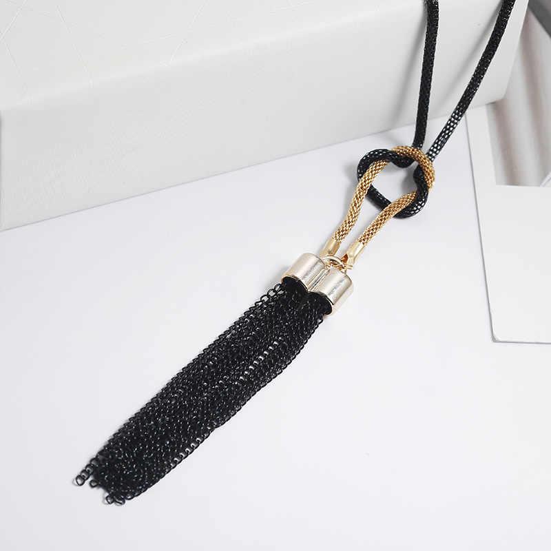 Женское Ожерелье Черного Цвета s Изысканная универсальная цепочка с кисточками Длинная цепочка под свитер ожерелье элегантные ювелирные изделия подарок девушка
