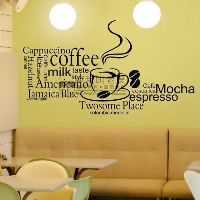 Coffee Shop Cafes Ice Cream Bread Cake Wall Art Removable Sticker ...