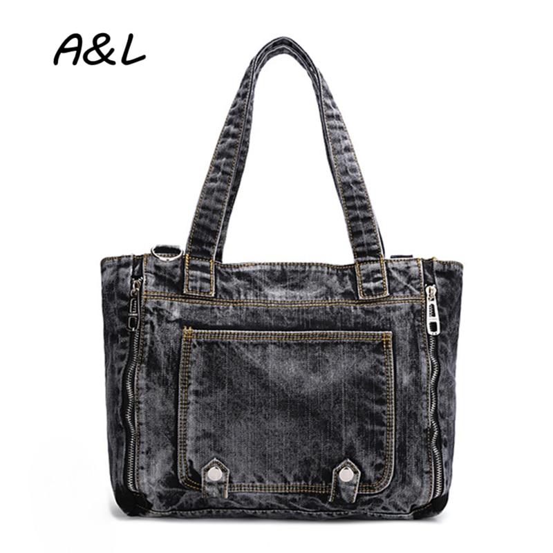 ФОТО 2016 Women Bag Large Capacity Punk Denim Handbag Korean Fashion Casual Shoulder Messenger Bag Lady Cool Jeans Tote Bolsas A0127