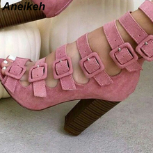 Aneikeh 2020 New Autumn Fashion Shoes Woman Sexy Fish Head Hollow Belt Buckle Thick Heels Peep Toe S