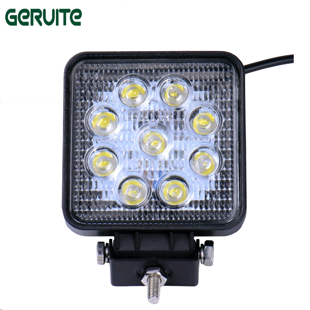 2pcs 27W Car LED Headlight daytime running lights Square Flood Light Spot Light for Boating Hunting Offroad Work Lamp car 2pcs square 21cm bendable led daytime running light 100