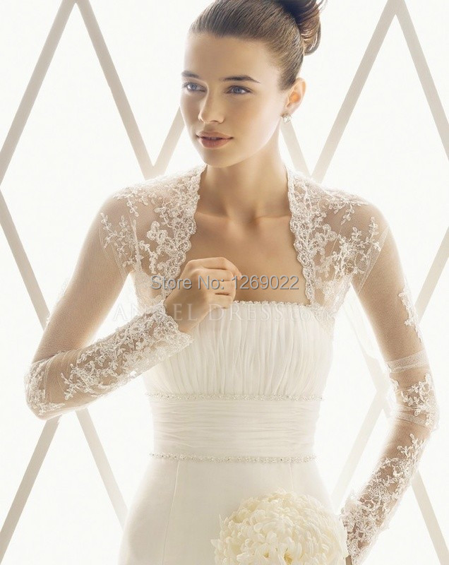 Ivory wedding lace bolero jacket long sleeves wedding for Wedding dress long sleeve lace jacket
