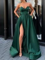 Elegant Emerald Green Evening Dresss 2019 Long V neck Strapless Belt Satin Sexy High Slit Women Formal Gowns robe de soiree