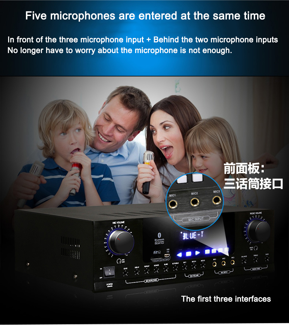 Nobsound PM1000 Professional KTV karaoke Bluetooth amplifier Support MP5 USB / SD Play APE Music support 220V and 110V