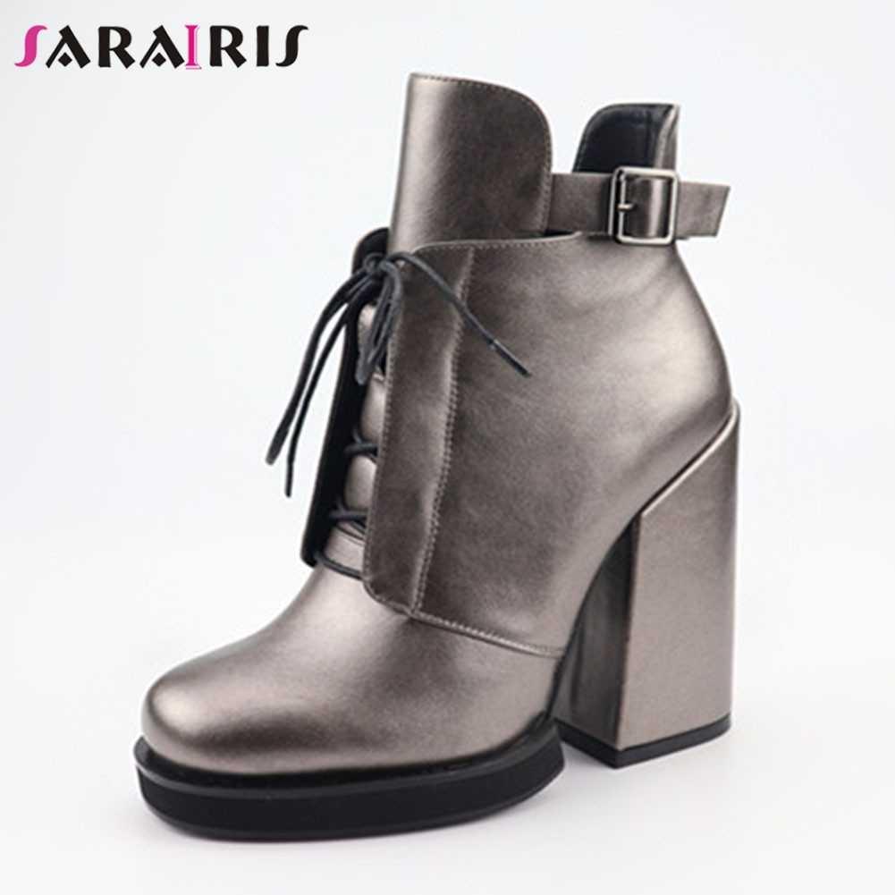 SARAIRIS/новые туфли на высоком квадратном каблуке, с ремешком и пряжкой, на молнии, с перекрестной шнуровкой Женские повседневные Демисезонные ботильоны для офиса Большие размеры 35-40