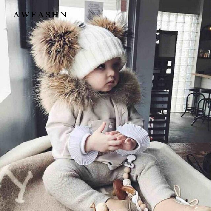 New Two Raccoon Fur pom poms Knit Beanie Hat Solid Color High Quality  Winter Hat Boy Girl Thicken Hedging Cap Warm Baby Kids-in Skullies   Beanies  from ... 55de4ed6f65