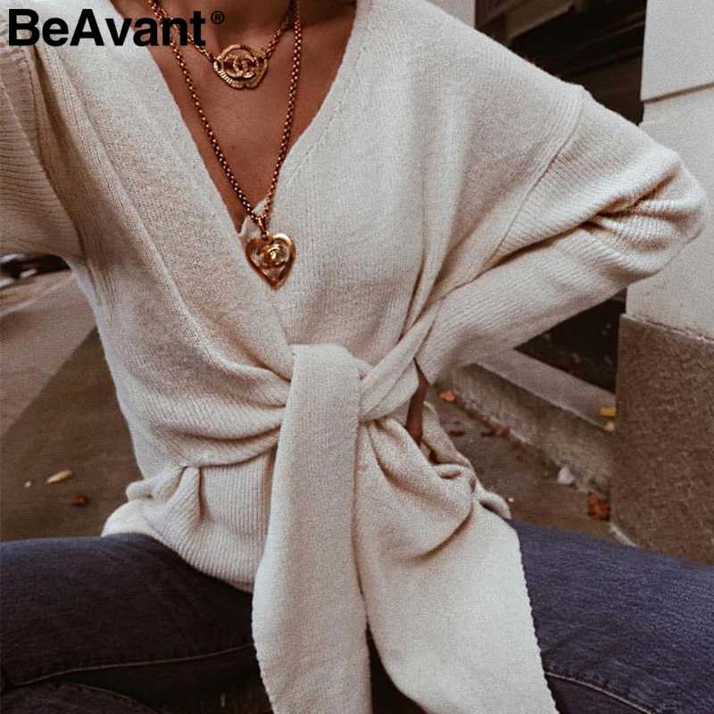 BeAvant Casual bow tie plus size women sweater Elegant v-neck knitted jumper female Autumn winter pullover black sweaters 2019
