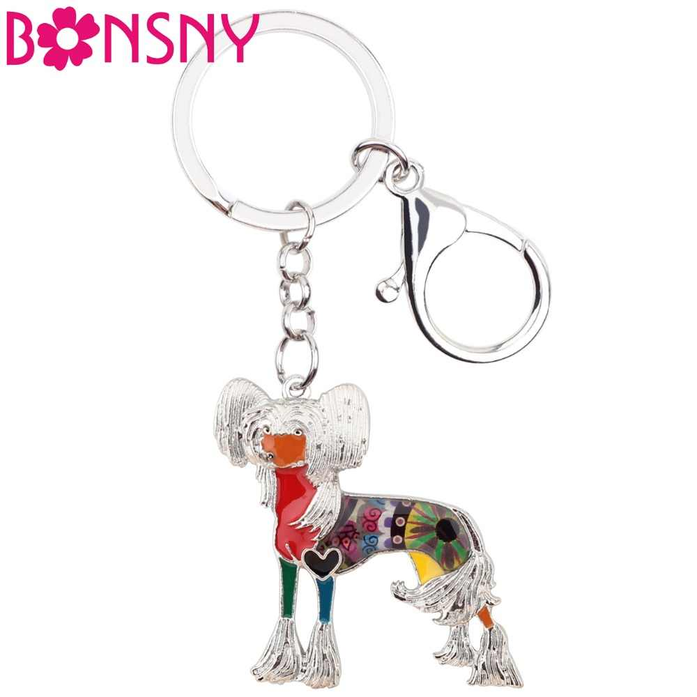 Bonsny Statement Enamel Alloy Chinese Crested Dog Key Chains Keychain Keyrings Jewelry For Women Ladies Pendant Bag Car Charms