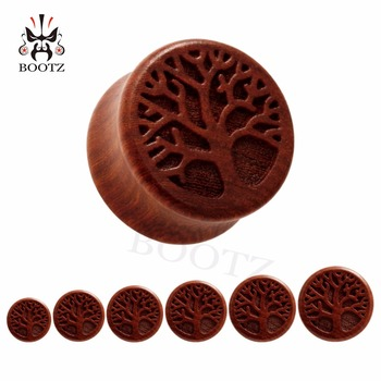 New fashion wood life tree carved ear tunnel plugs ear gauges piercing Body Jewelry free shipping wholesale фото