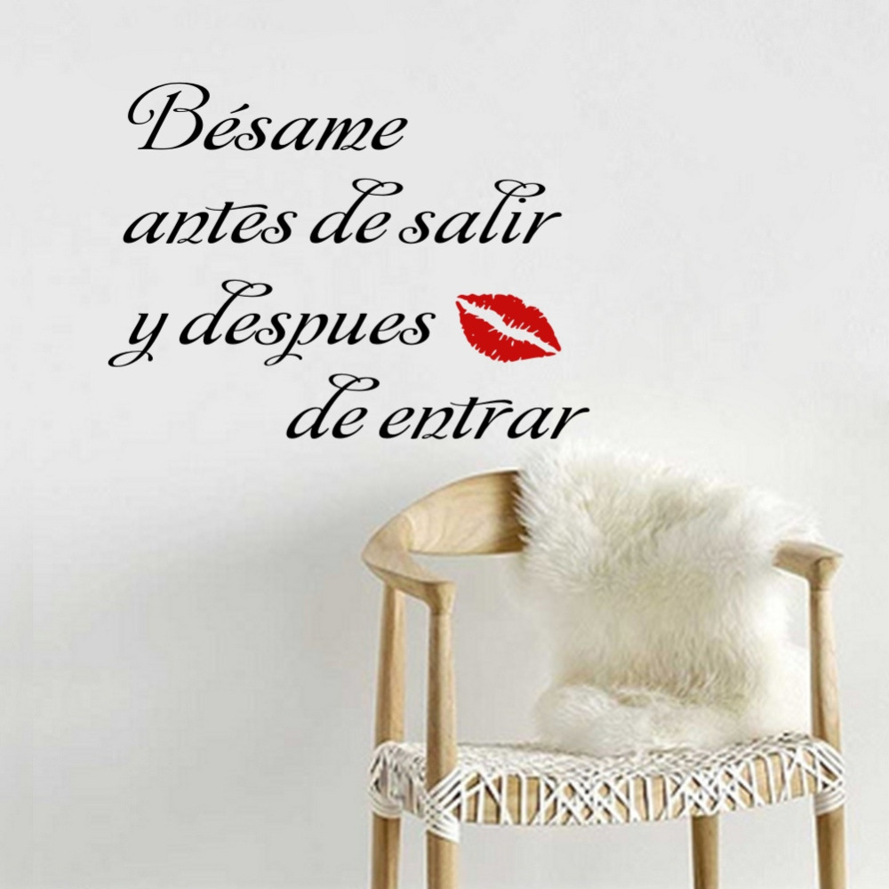 Besame antes de salir y despues de entrar Spanish Quote Vinyl Mural Stickers for Bedroom Decor