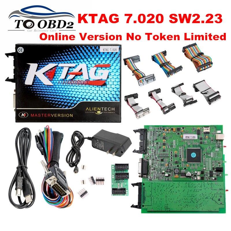 Цена за DHL бесплатно KTAG V7.020 прошивки мастер версия SW2.23 неограниченное маркеры зашифрованные более 100 ЭБУ типов k тег 7.020 лучше, чем V6.070