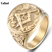 YaHui stainless ring men gold simple high quality  masonic punk mens rings steel jewelry