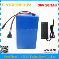 1000W 36V 20AH Electric bicycle battery 36V 20.3AH lithium ion battery use NCR18650PF 2900mah cell 30A BMS free shipping