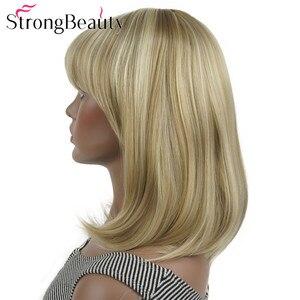 Image 3 - StrongBeauty ישר סינטטי פאות בינוני ארוך שיער עם פוני מסודר נשים פאת רבים צבעים