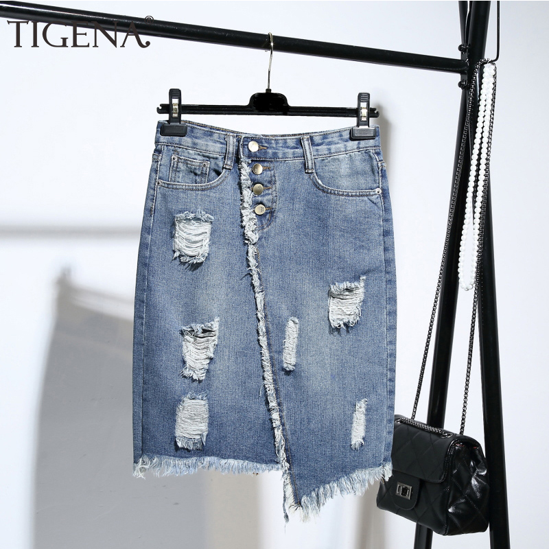 TIGENA Plus Size Fashion Midi Denim Skirt Women 2019 Summer Light Blue Hole Ripped Jeans Skirt Female Button Tassel School Skirt