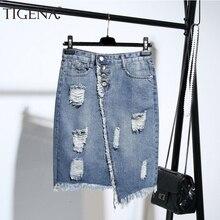 TIGENA בתוספת גודל אופנה Midi ג ינס חצאית נשים 2020 קיץ אור כחול חור Ripped ג ינס חצאית נשי כפתור בית ספר ציצית חצאית