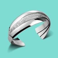 Woman 925 Sterling Silver Bracelet Solid Silver Bracelet Hyperbole Fashion Silver Jewelry Opening Bracelet Adjustable Size