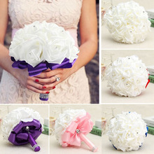 2017 Hot Sale Bridal Bouquet Rose Foam Crystal Diamante Wedding Handmade Bridesmaid Flower Wholesale Free Shipping