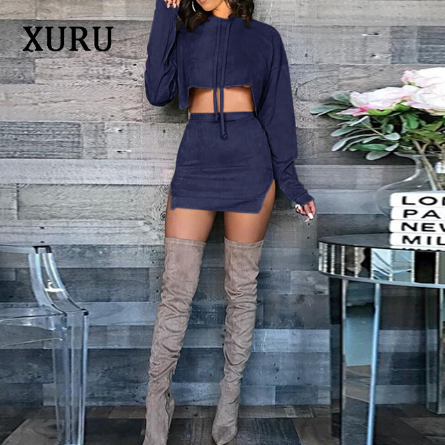 XURU 2018Autumn New Casual Suede Suits Pure color Drawstring Hooded Sweater + Split skirt Two sets 4