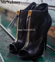McNabney Sexy Women Short Boots Zipper Peep Toe Stiletto Heel Ankle Boots Fashion Summer Thin Heel New High Heel Women Shoes