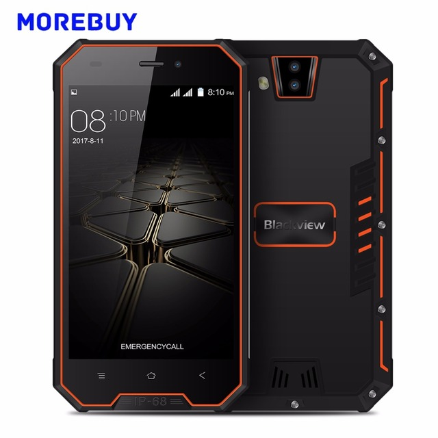 Blackview BV4000 Pro IP68 Waterproof Mobile Phone MTK6580A Quad Core 2G RAM 16G ROM Android 7.0 Smartphone 3680mAh Dual Rear Cam