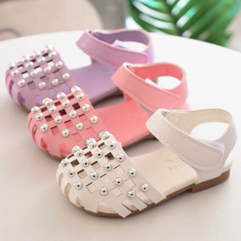 Newborn Infant Baby Girls Hollow Anti-slip Shoes Soft Sole Pearl Single Sneaker 0328