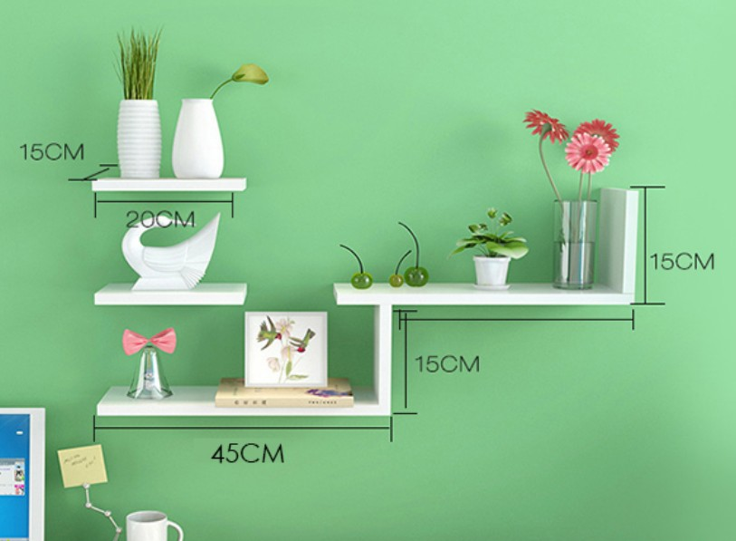 Modern Wall-Mount Book Shelf Living Room Storage Holder