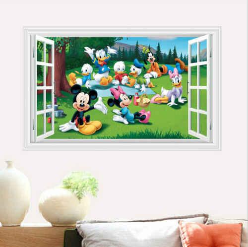 Предел 100 мультфильм Микки и Минни Маус Детские домашние Переводные рисунки наклейки на стену для детской комнаты детская спальня Настенная картина в детскую парк плакат «сделай сам»
