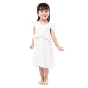 Kaiya Angel 2019 New Arrival Kids Dress for Girl Solid Color Ruffle Waistline Toddler Summer Clothes Princess Wedding Party Suit