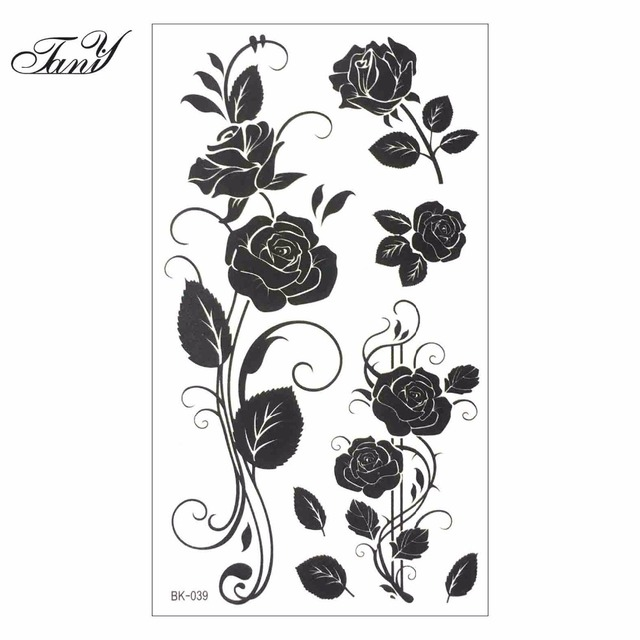 rose designs black and white. women sexy finger flash fake tattoo stickers black white flowers rose design water transfer temporary designs and