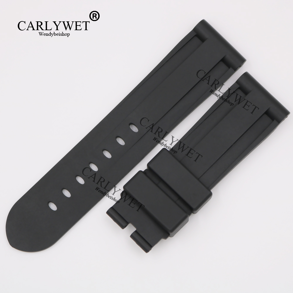 CARLYWET 24mm Wholesale Newest Black Waterproof Silicone Rubber Replacement Wrist Watch Band Strap Belt For Luminor carlywet 24mm men white waterproof silicone rubber replacement wrist watch band strap belt no buckle for panerai luminor