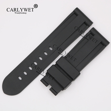 CARLYWET 24mm Wholesale Newest Black Waterproof Silicone Rubber Replacement Wrist Watch Band Strap Belt for 44mm-47mm