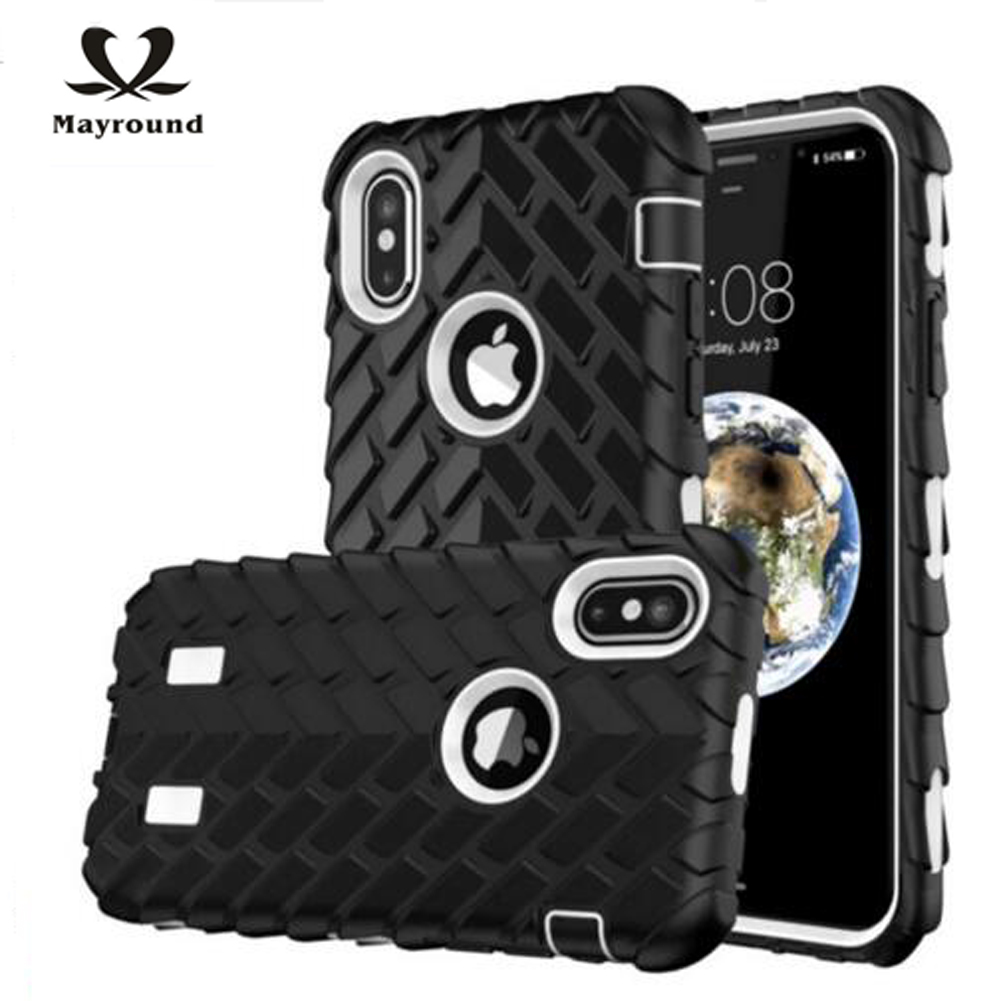 MAYROUND For Apple iPhone Ten X 10 Cases 3 in 1 Conbine Protection Design Tire Texturing Cover Guard Armor Coque Extra Side Grip