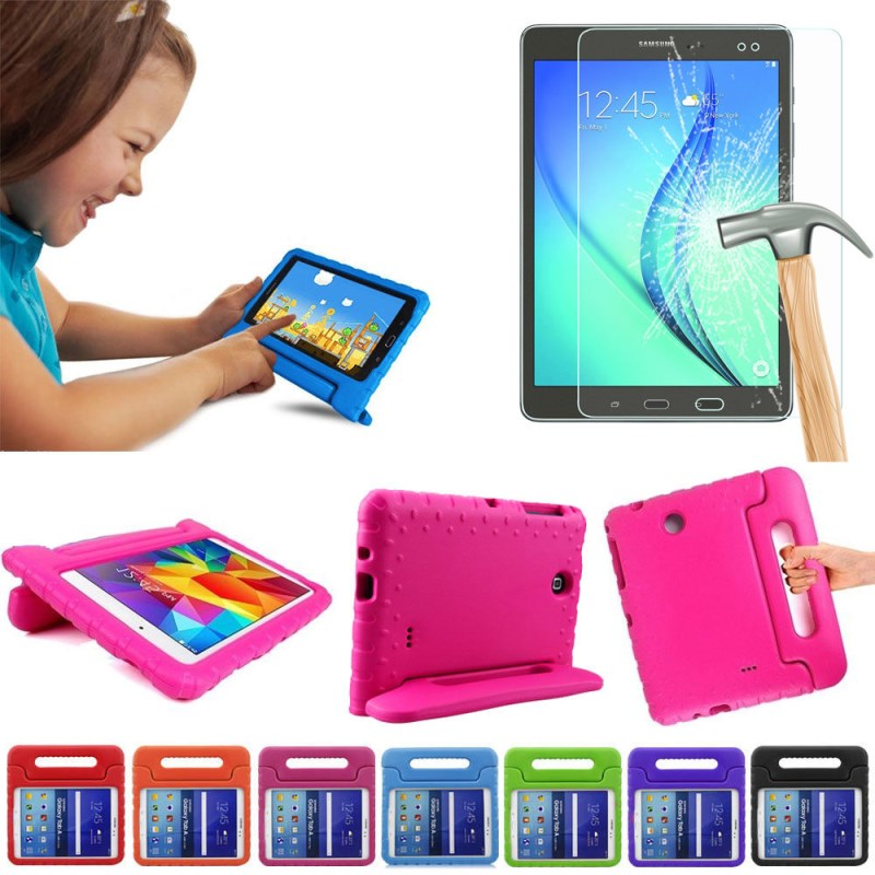 Kids Safe Shockproof EVA Foam Handle Tab Case Stand For Samsung Galaxy Tab A SM-T550 T555 9.7inch Tablet +Tempered Glass
