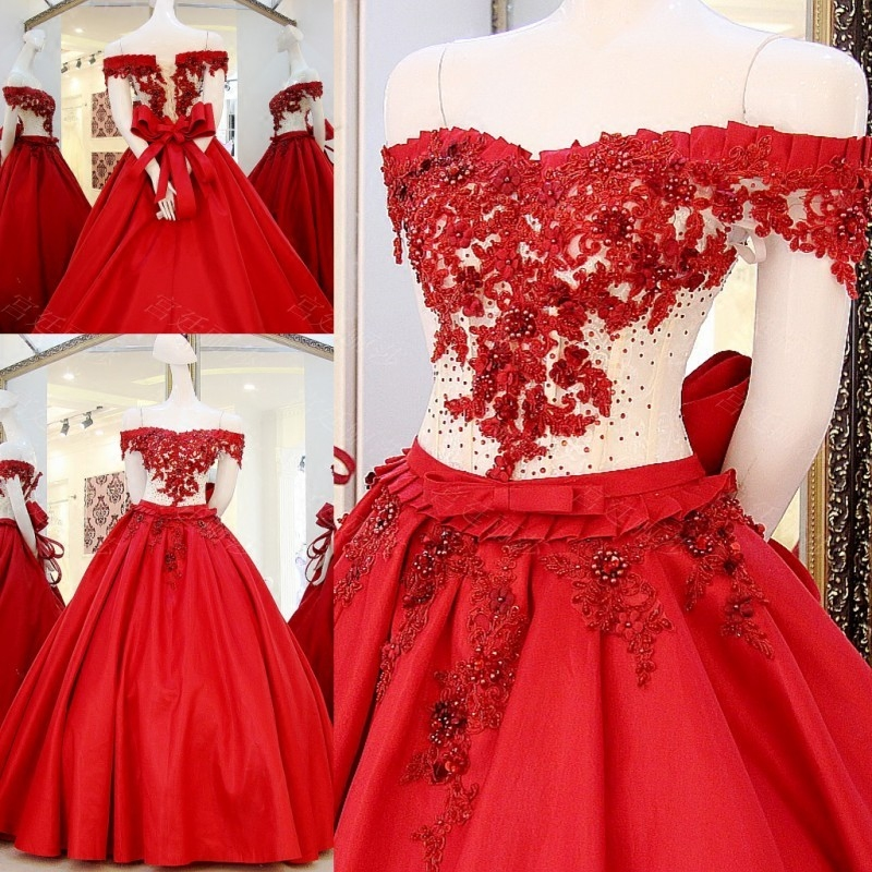 2017 Bridal Marriage Gowns A line Red Dress Satin Beading Pearls ...