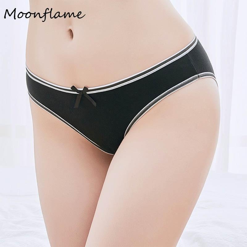 Moonflme 1 pcs/lots Hot Sale Women   Panties   Sexy Solid Color Cotton Low Rise Briefs 89161