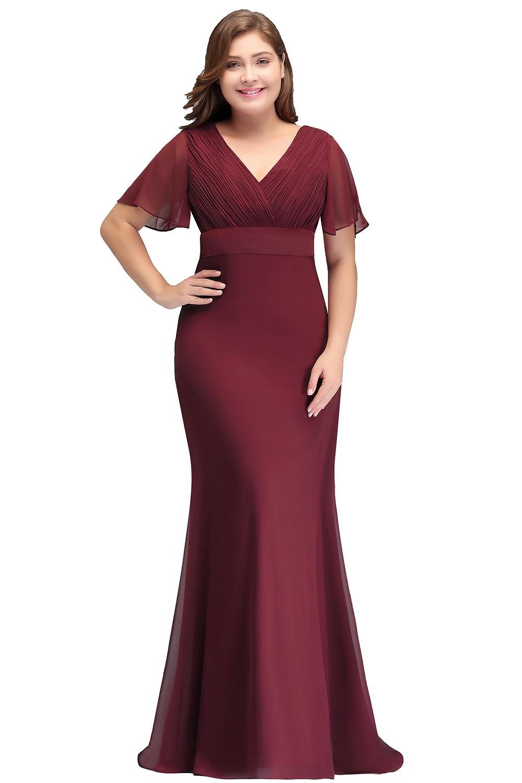 2019 Burgundy Navy Blue Chiffon Mermaid Long Bridesmaid Dresses Plus Size  Short Sleeve Wedding Party Guest Dress
