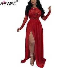 ADEWEL Maxi Dress Sexy Breathable Silk Full Sleeves High Spilt Women long Paillette Club Party Summer Boho Beach
