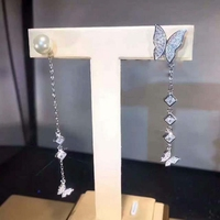 Top Quality Pure 925 Sterling Silver Jewelry For Women Butterfly CZ Earrings Luxcy Long Earrings Fine Costume Jewelry Earrings
