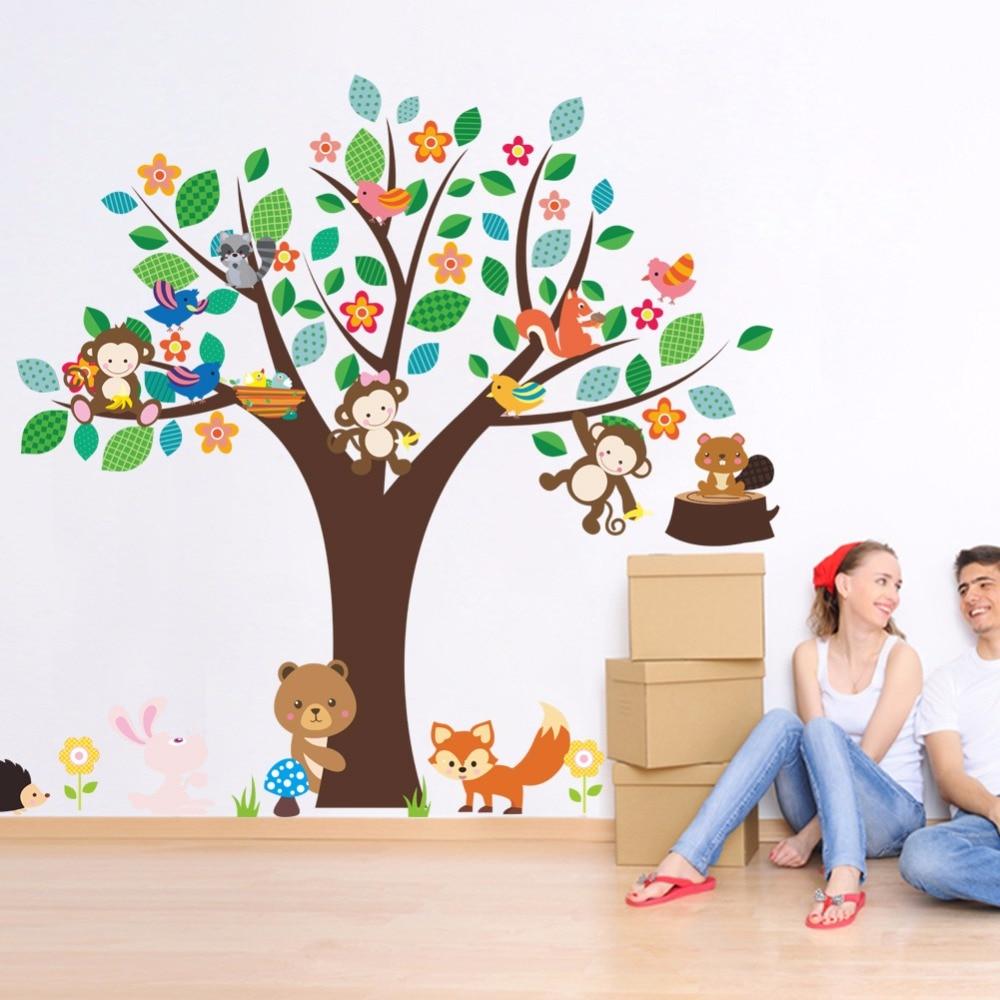 Cartoon Animals Monkey Bear Fox Hedgehog Birds Large Tree Wall Stickers Kids Room Nursery Decor Wallpaper Poster Decals Wall Art
