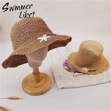 Summer beach floral print ladies sun hat Female casual panama hat Women weaving elegant round hat cap holiday Fashion beach2019(China)