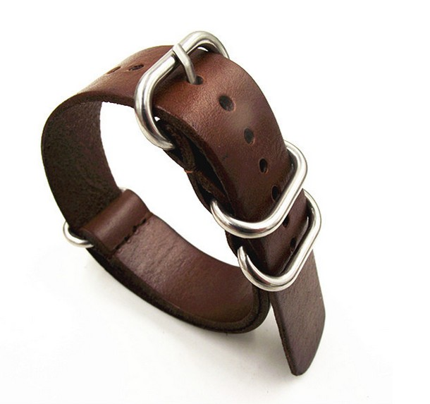 1pcs 18MM 20MM 22MM 24MM Nato Strap Genuine Leather Coffee Color Watch Band NATO Straps Zulu Strap Watch Straps