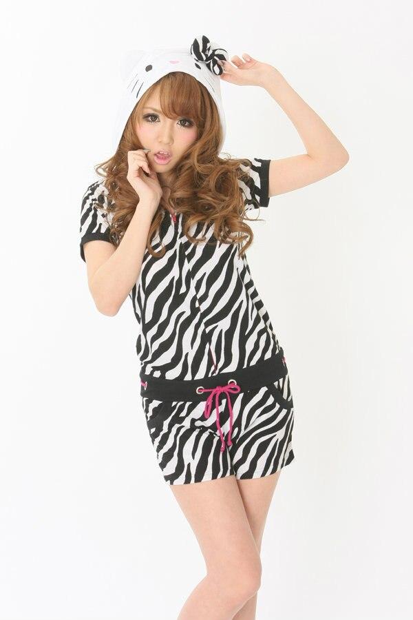 Дизайнер Kawaii Аниме Минни для женщин обувь для девочек Летний Комбинезон Onesie с ушками капюшон женский короткий рукав косплэй пижамы Топ+ шорт - Цвет: zebra