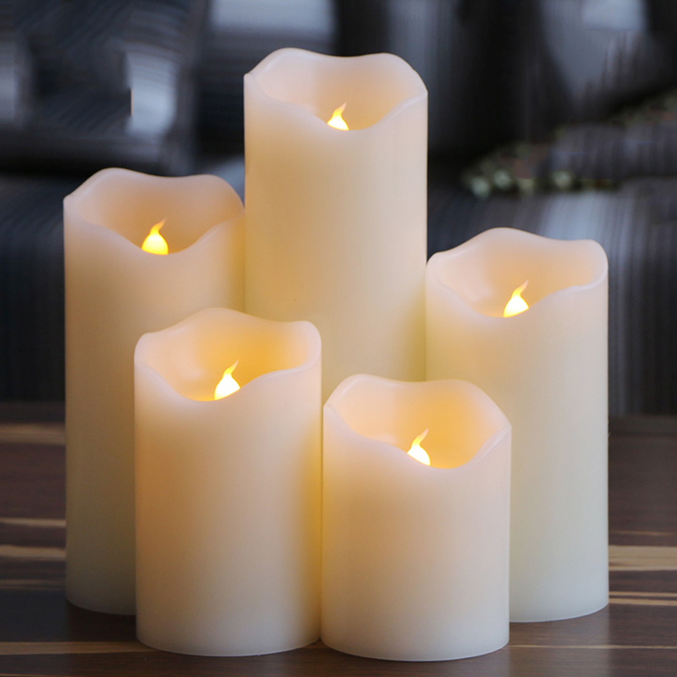 flameless uneven edge electrical paraffin wax led candle for wedding party home halloween decoration and lovely