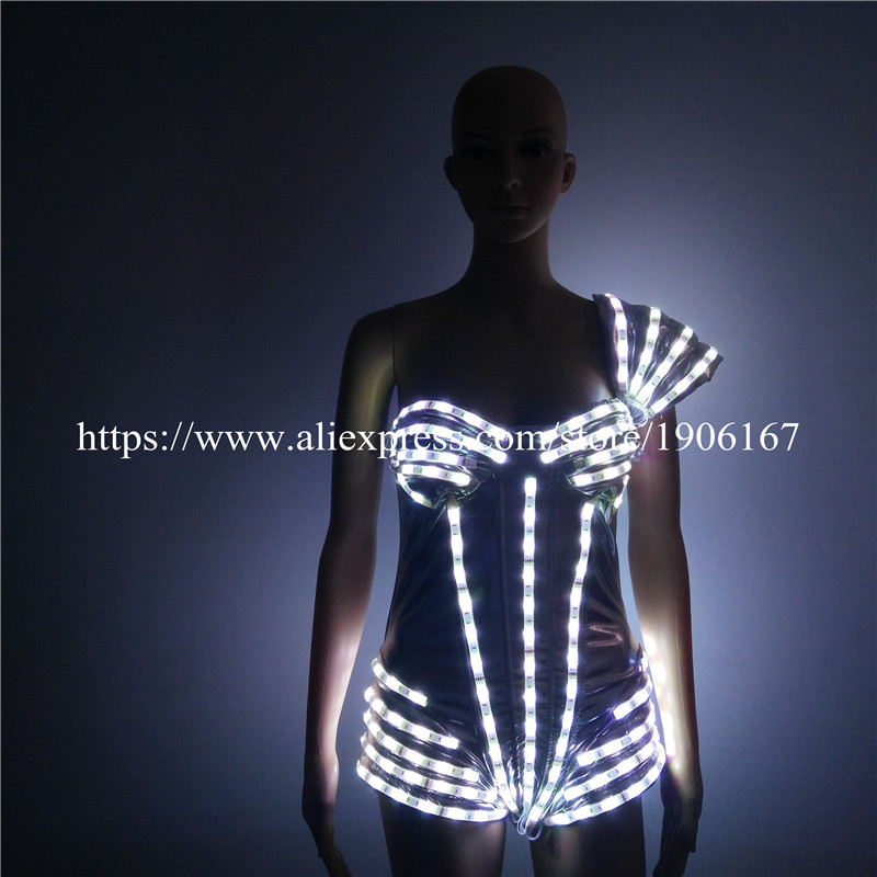 Colorful Led Luminous Sexy Lady DS Party Dress Flashing Light Up Ballroom Costume Dance Wear For