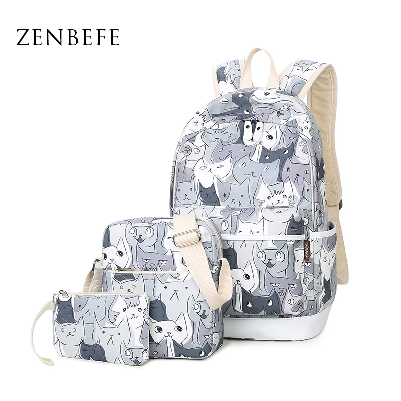 ZENBEFE 3pcs/set Cats Printing Backpacks Polyester School Bags For Teenagers Girls Cute School Bag Lady Bookbag Travel Rucksack temptations mixups surfers delight flavor treats for cats pouch mega bag