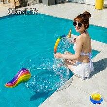 Летнее прозрачное Надувное надувное кольцо с блестками фламинго и Единорог для ванной, игрушка для воды, плавучий бассейн, плот для плавания, обучающий, Бесплатный насос