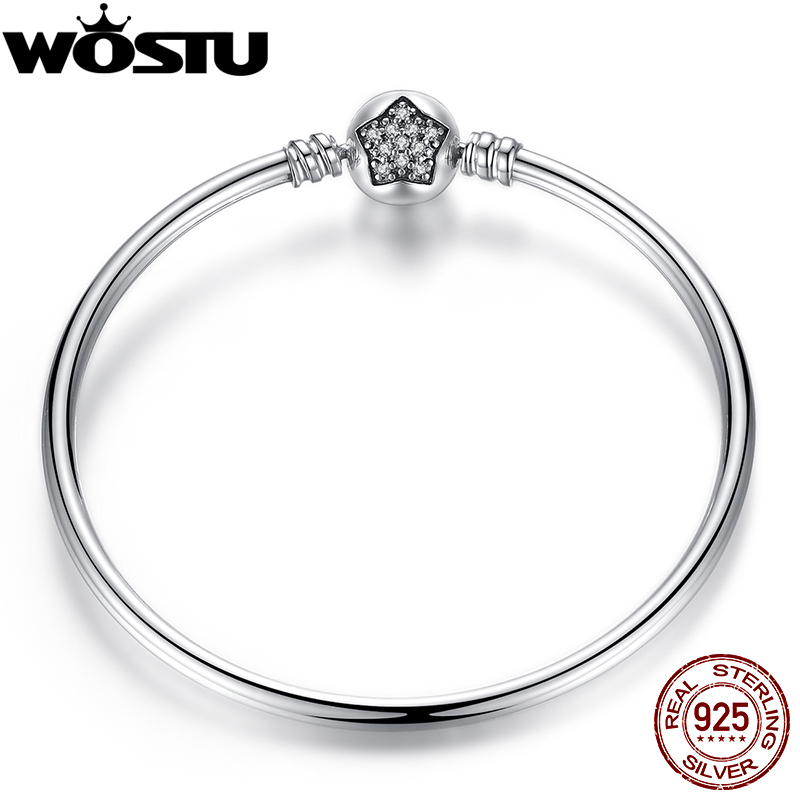 100 925 Sterling Silver Bangle With Clear CZ for Women Fashion DIY Jewelry Fit Original Bracelets