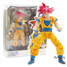 SHF Dragon Ball Son Goku Super Saiyan Deus Goku Dragão-Bola de Cabelo Vermelho PVC Action Figure Collectible Modelo Toy 15 centímetros(China)